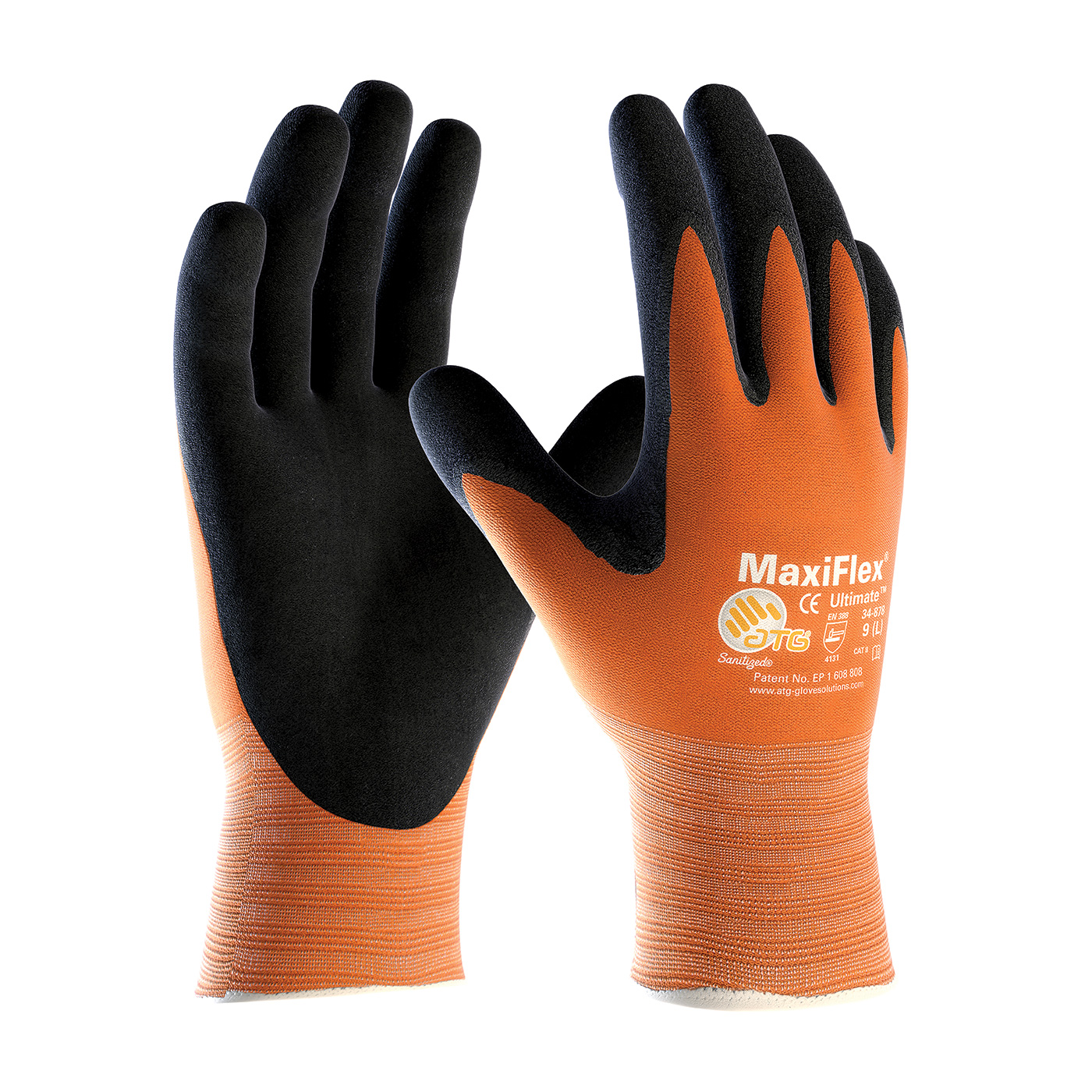 PIP® MaxiFlex® Ultimate™  Hi-Vis Seamless Knit Nylon Glove with Nitrile Coated MicroFoam Grip on Palm & Fingers #34-8014