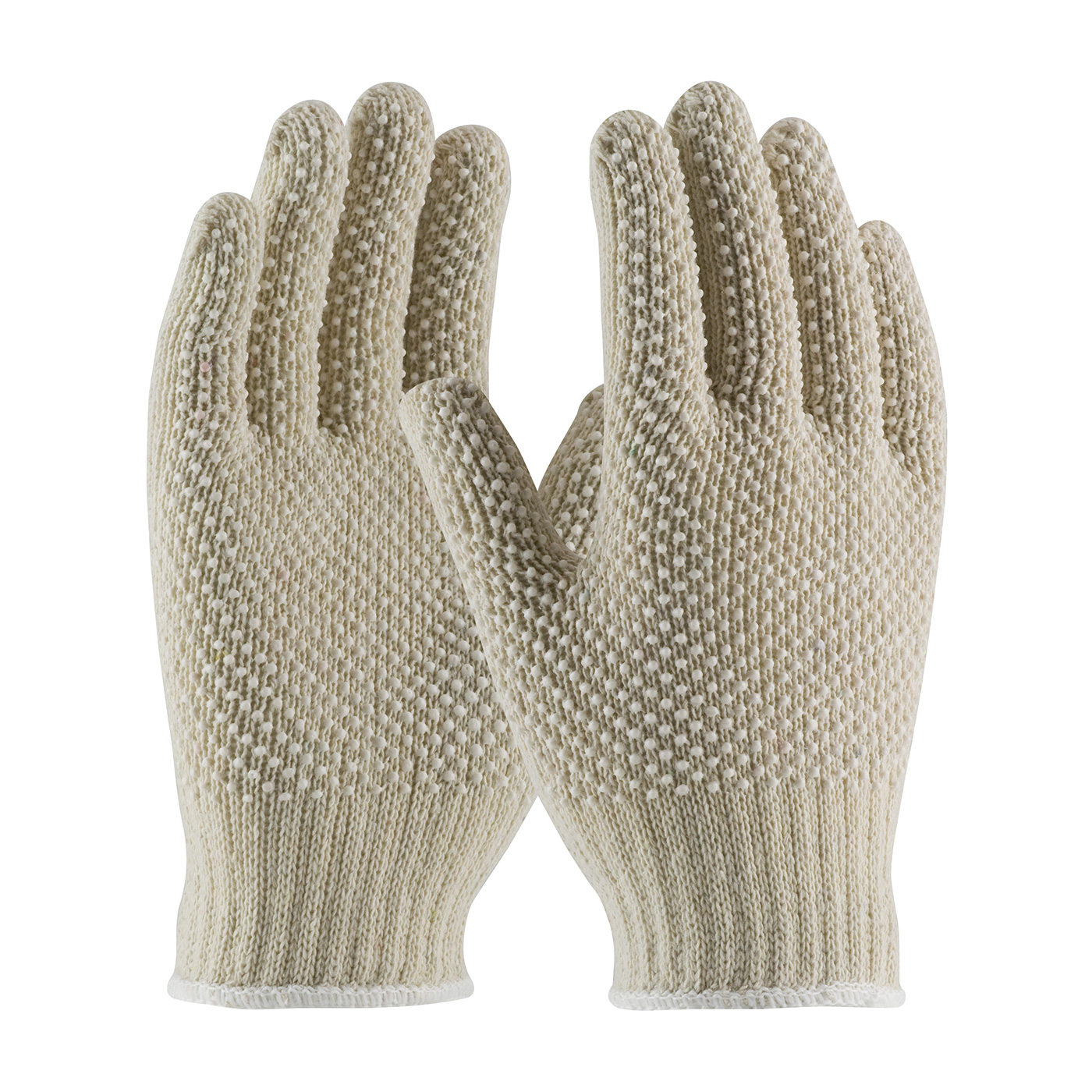 PIP® 7 Gauge Regular Weight Seamless Knit Cotton / Polyester Glove with Double-Sided PVC Dot Grip -  #36-110PDD-WT