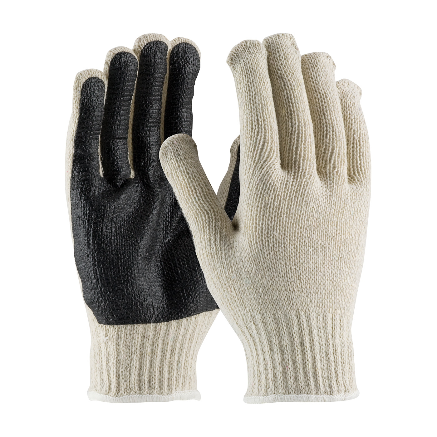 PIP® Seamless Knit Cotton / Polyester Glove with PVC Palm Coating - Regular Weight   #36-110PC-BK