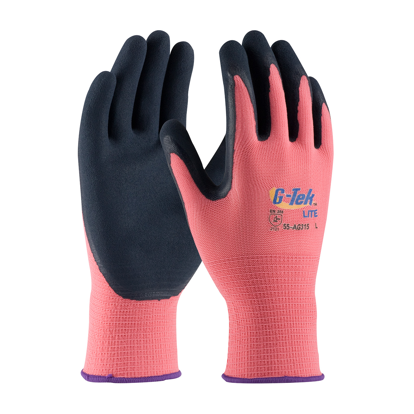 #55-AG315 PIP®  Hi-Vis Rose G-Tek® GP™ Polyester Shell with Latex Coated MicroSurface Grip