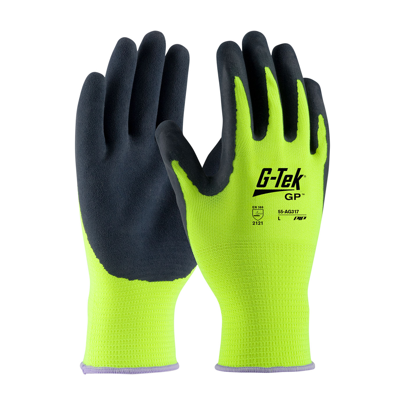 #55-AG317 PIP®  Hi-Vis Yellow G-Tek® GP™ Polyester Shell with Latex Coated MicroSurface Grip