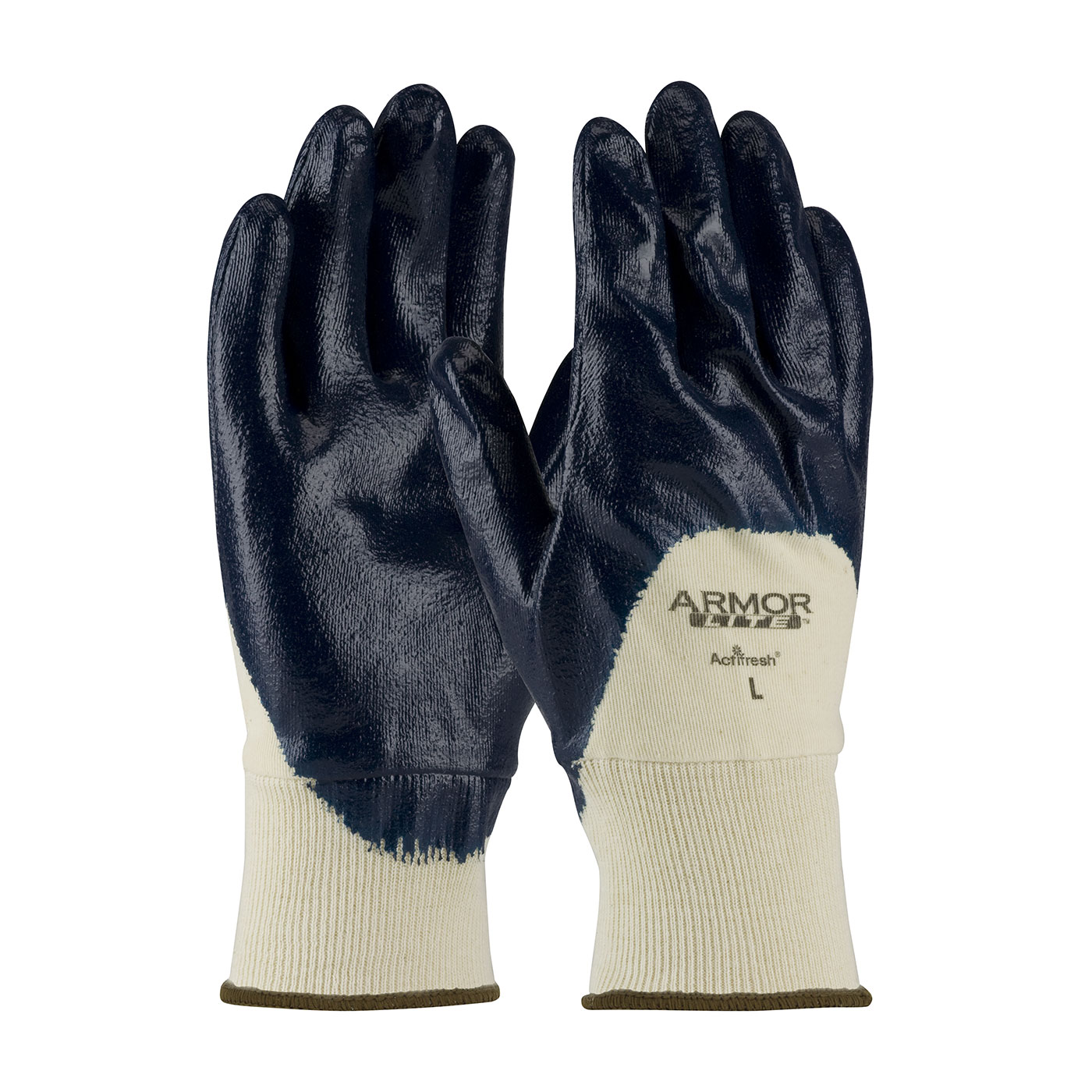 56-3170 PIP® ArmorLite® Nitrile Dipped Glove with Interlock Liner and Textured Finish on Palm, Fingers & Knuckles - Knitwrist