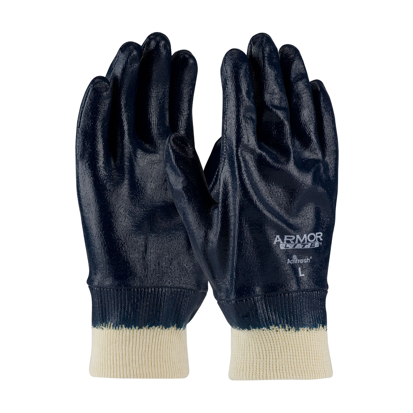 56-3171 PIP® ArmorLite® Nitrile Dipped Glove with Interlock Liner and Textured Finish on Hand - Knitwrist