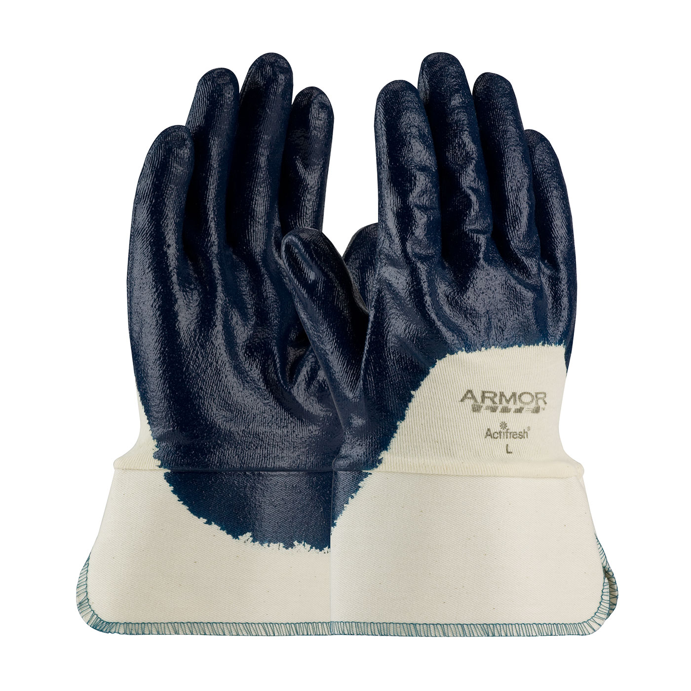 56-3175 PIP® ArmorLite® Nitrile Dipped Glove with Interlock Liner and Textured Finish on Fingers, Palm and Knuckles has a Safety Cuff