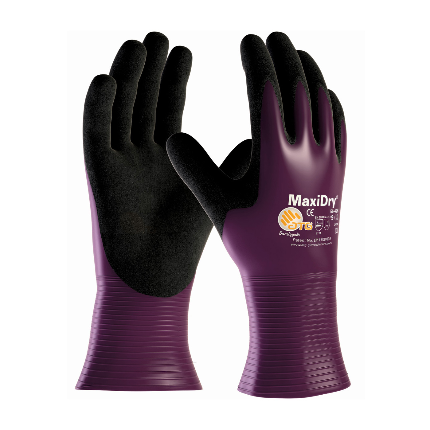 PIP® MaxiDry® Ultra Lightweight Nitrile Glove, Fully Dipped with Seamless Knit Nylon / Lycra Liner and Non-Slip Grip on Palm & Fingers #56-426
