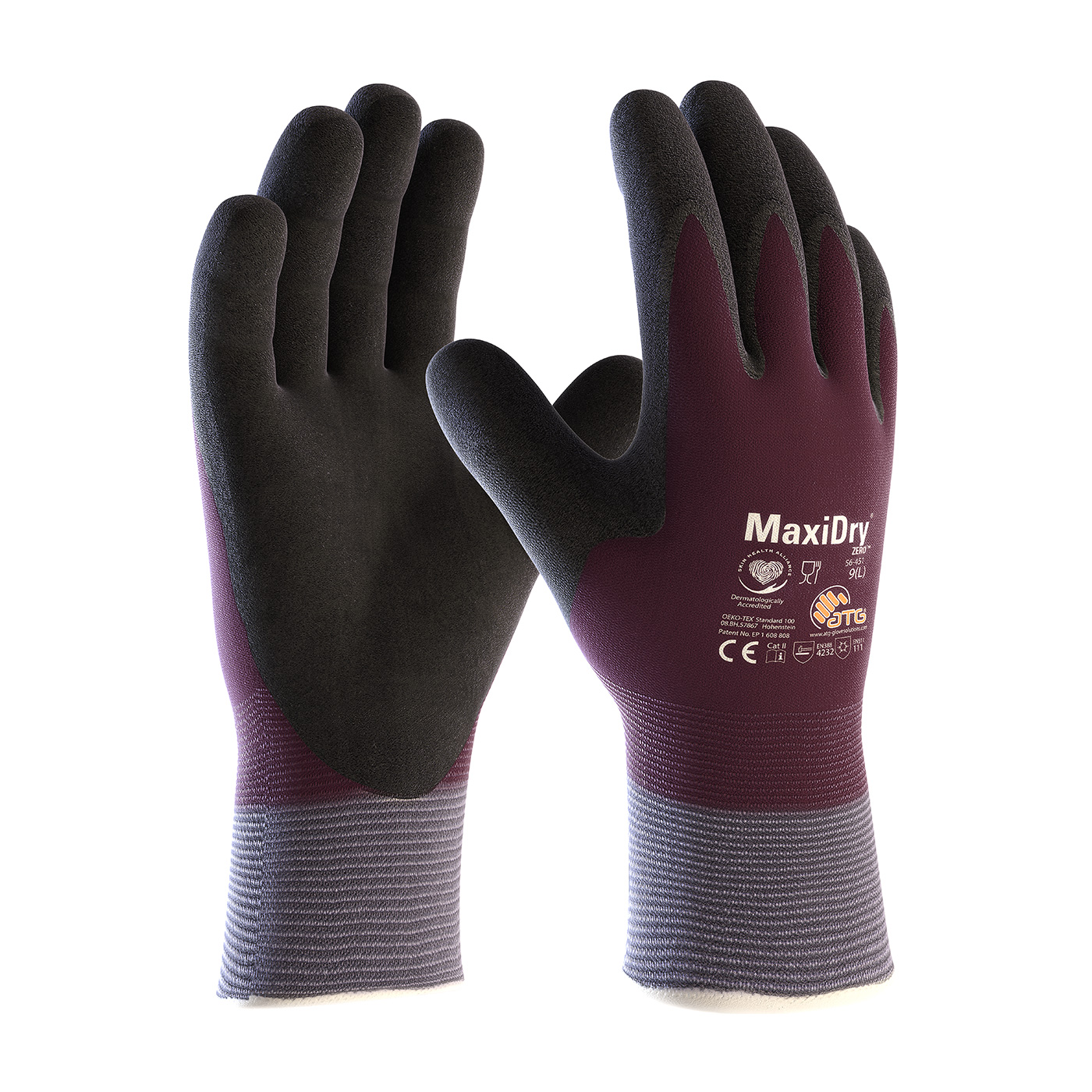 #56-451 PIP® MaxiDry® Zero™ Seamless Knit Nylon/Lycra Glove with Thermal Lining and Double-Dipped Nitrile Coated MicroFoam Grip on Full Hand