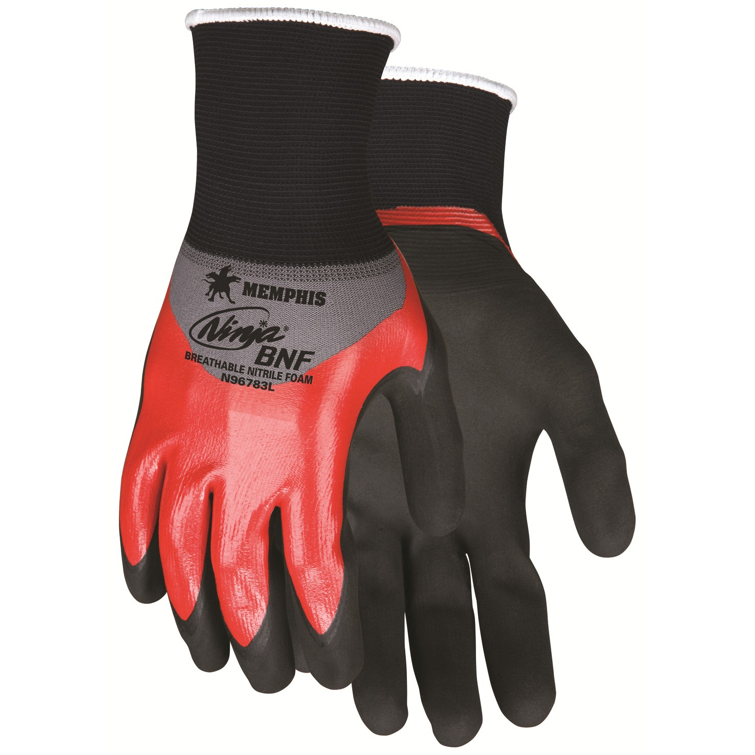 N96783 - MCR Safety Memphis Ninja® BNF 18 Gauge Nylon/Spandex, Over Knuckle Nitrile Dip, black BNF palm & finger