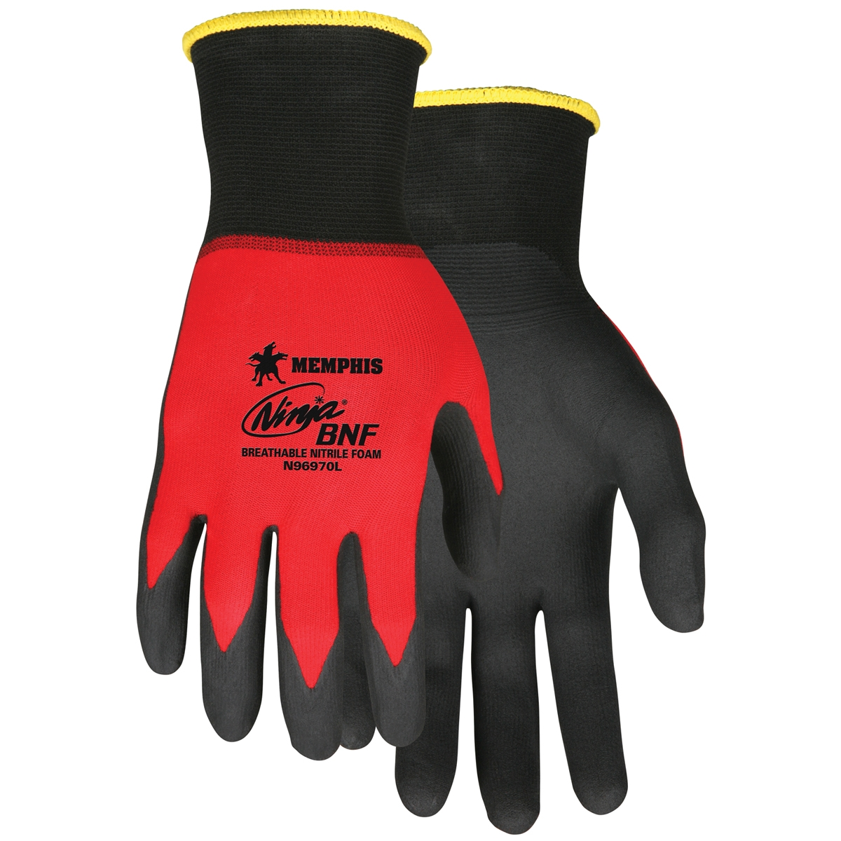 N96970 - MCR Safety Memphis Ninja® BNF, 18 Gauge Red Nylon/Spandex Shell, Black Coated Palm and Fingertips