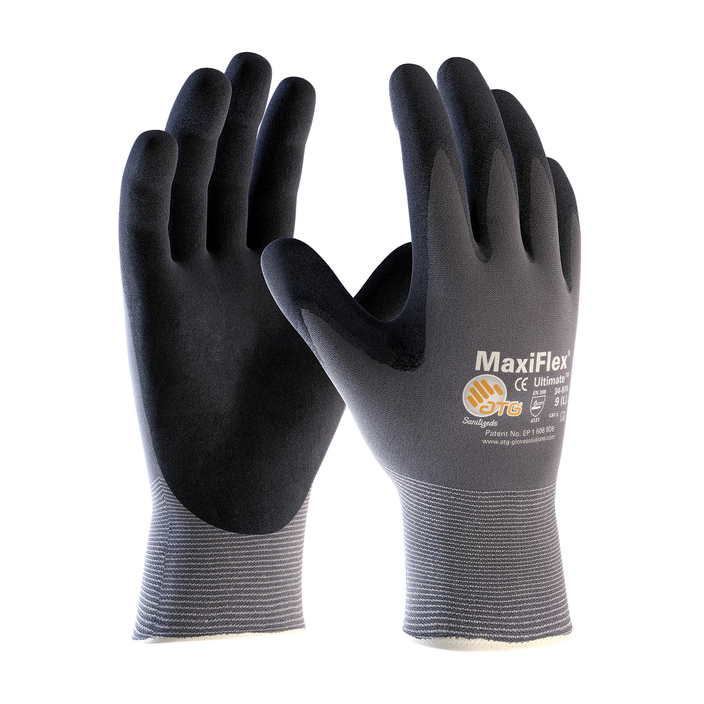 34-874 PIP® MaxiFlex® Ultimate™ Seamless Knit Nylon / Lycra Glove with Nitrile Coated MicroFoam Grip on fingertips and palm