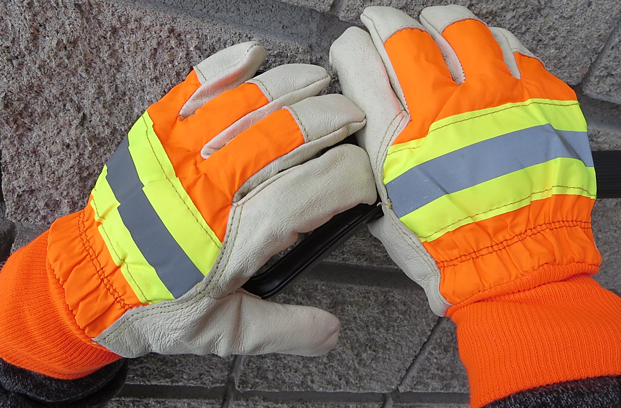 MDS Hi-Vis Retro-Reflective Thinsulate® Lined Pigskin Leather Work Gloves w/ Knit Wrist