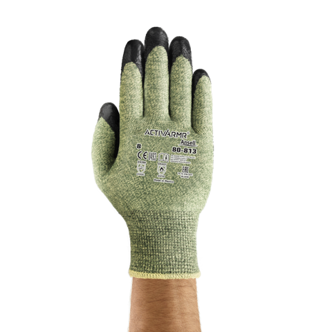 80813 Ansell ActivArmr® #80-813 Coated Knit Cut-Resistant & Arc Hazard Work Gloves, cut level 4, arc hazard level 1