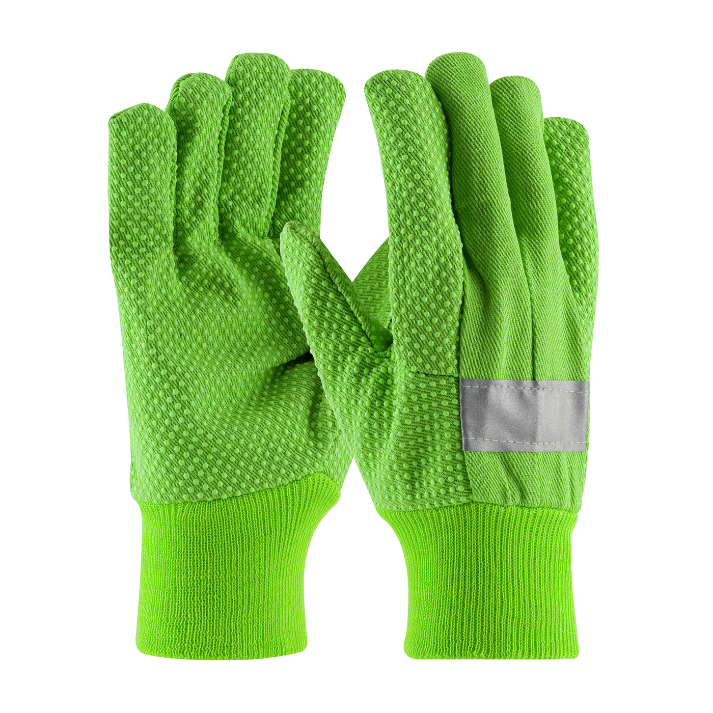 PIP® Hi-Vis Premium Grade Cotton Canvas Glove with PVC Dot Grip on Palm, Thumb and Forefinger - 10 oz  #91-910PDL-R