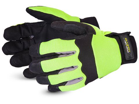 Superior Glove® Clutch Gear® Hi-Viz  Punkban™ Lined Mechanics Glove #MXHV2PB