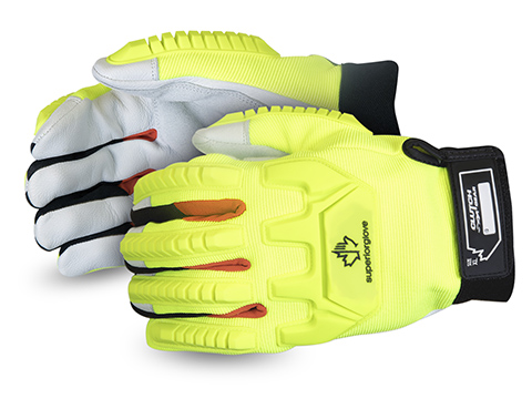 #MXGCEHVB - Superior Glove® Clutch Gear® Hi-Viz Anti-Impact Goat-Grain Mechanics Glove