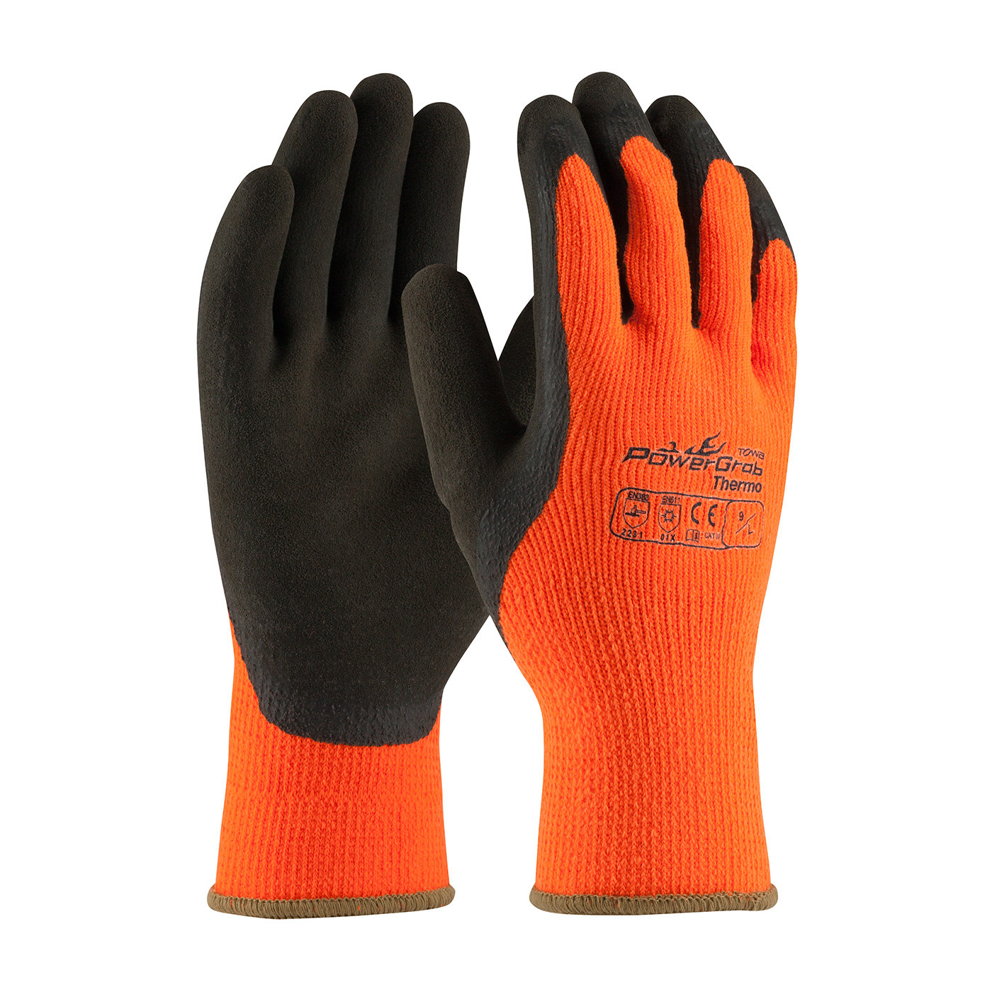 #41-1400 PIP Hi-Vis Orange PowerGrab™ Thermo Coated Winter Work Gloves with Latex Microfinish™ Grip,