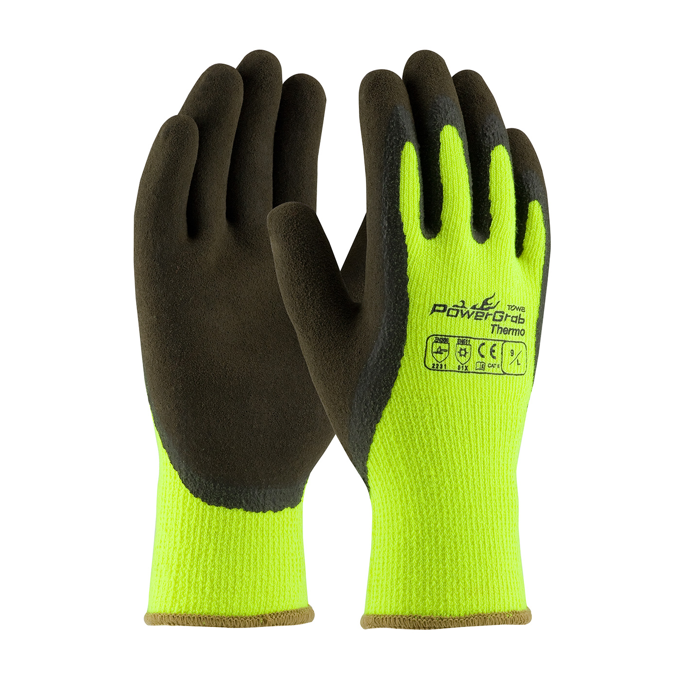 #41-1405 PIP® Hi-Vis Lime PowerGrab™ Thermo Coated Winter Work Gloves with Latex Microfinish™ Grip,