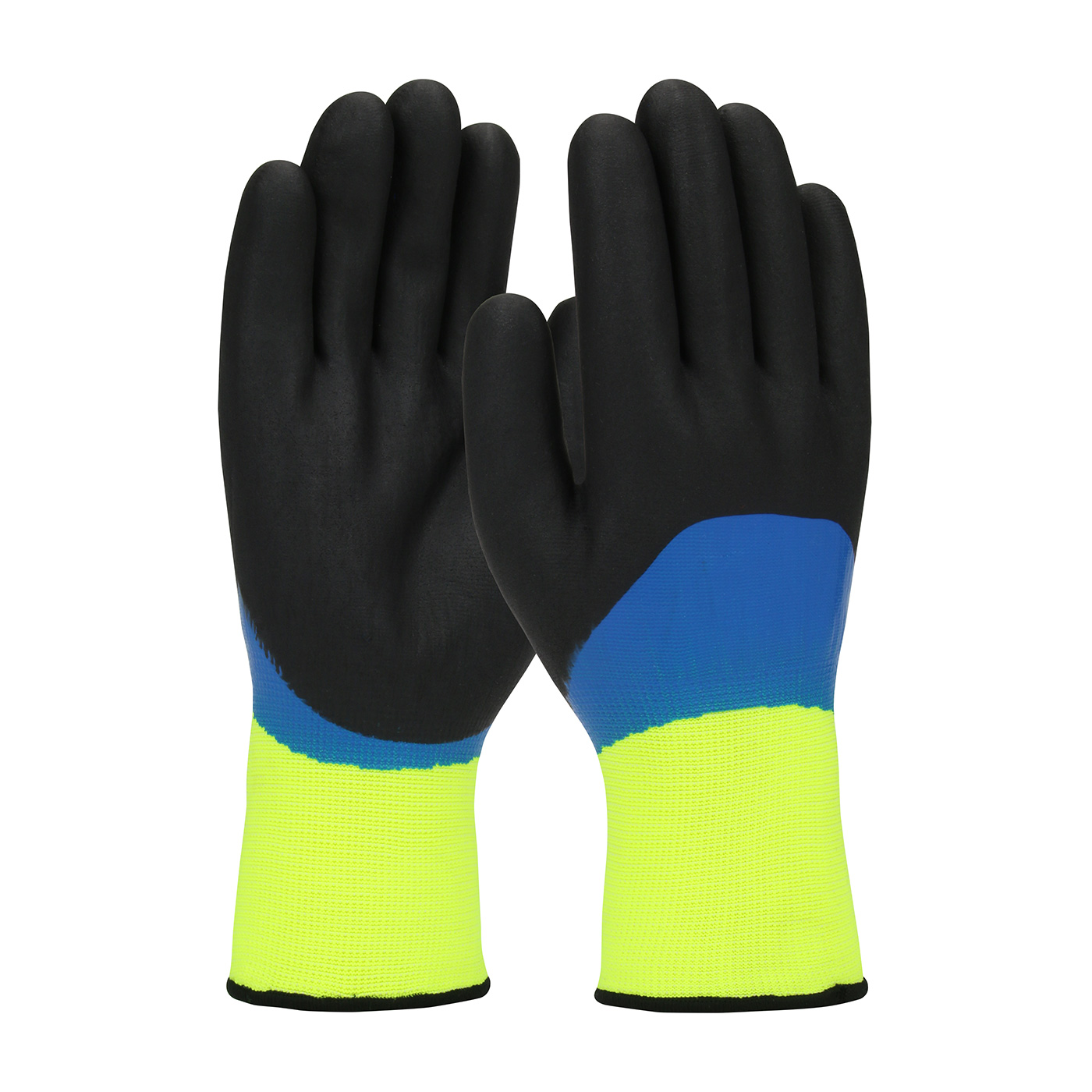 #41-1415 PIP® G-Tek® GP™ Hi-Vis Seamless Knit Nylon Glove with Acrylic Liner and Double Dipped Nitrile Coated Foam Grip on Full Hand