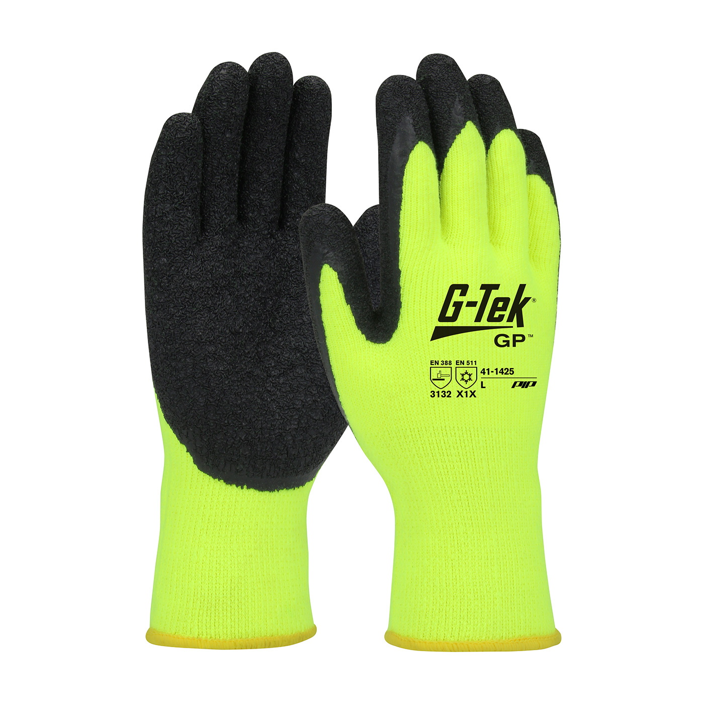 #41-1425 PIP G-Tek® GP™ Hi-Vis Seamless Knit Brushed Acrylic Glove with Latex Coated Crinkle Grip on Palm & Fingers