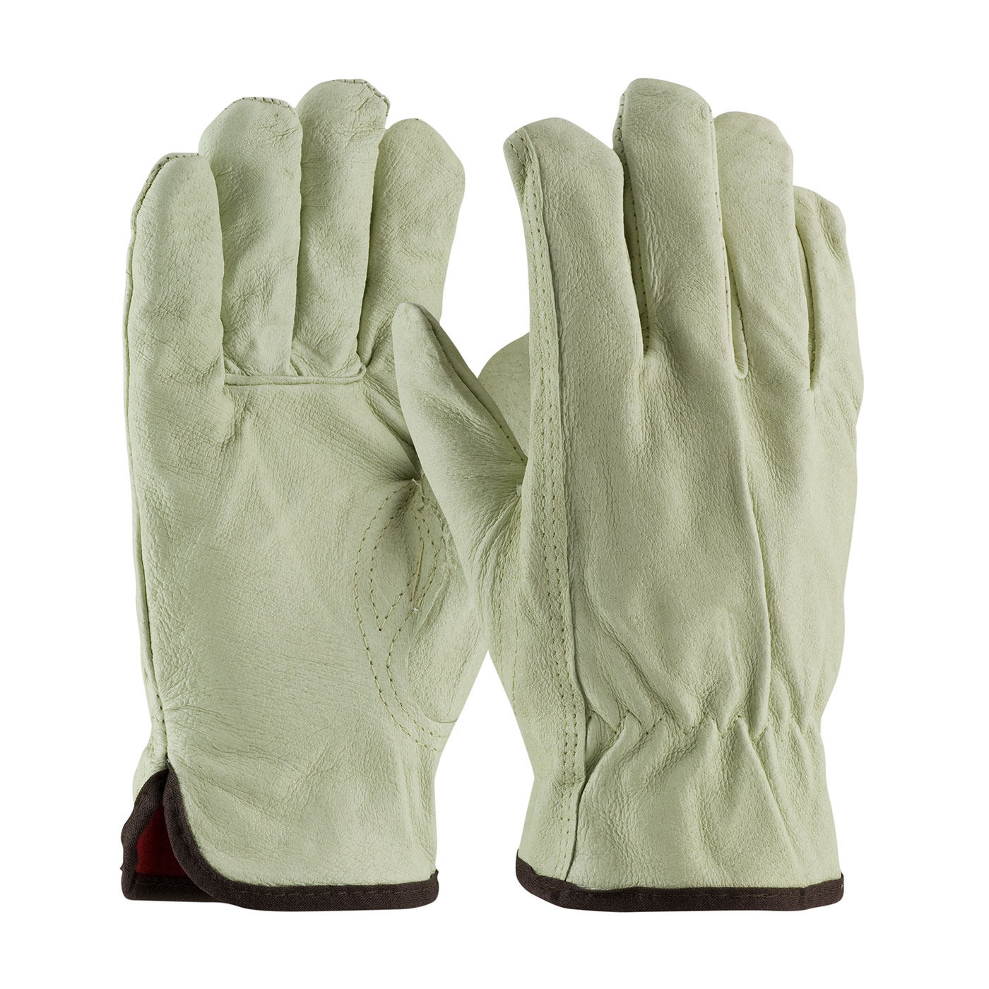 PIP® Premium Grade Top Grain Pigskin Leather Glove with Red Thermal Lining - Keystone Thumb. #77-468