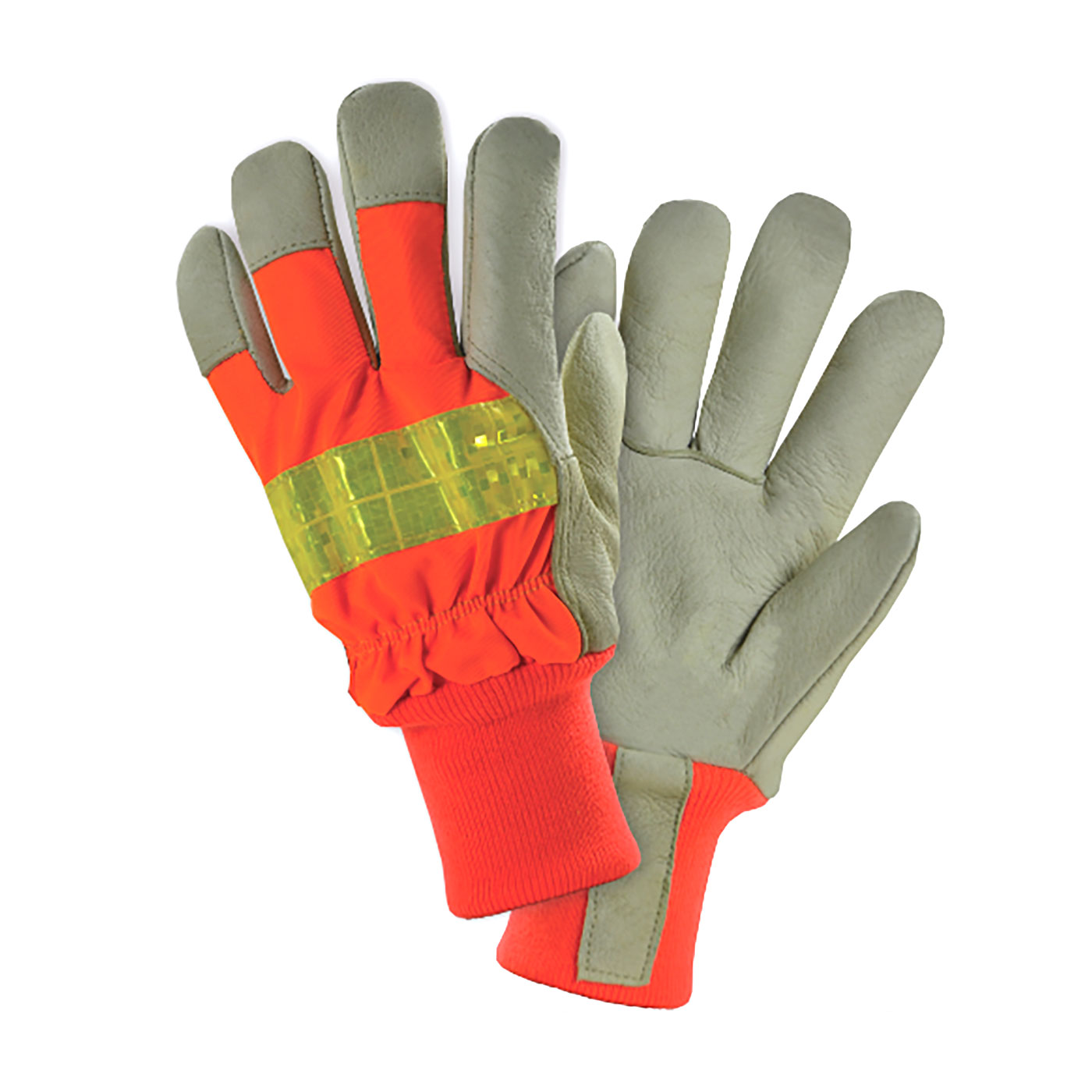 #HVO1555 PIP® West Chester Posi-Therm Top Grain Pigskin Leather Palm Glove with Hi-Vis Nylon Back and Reflective Stripe
