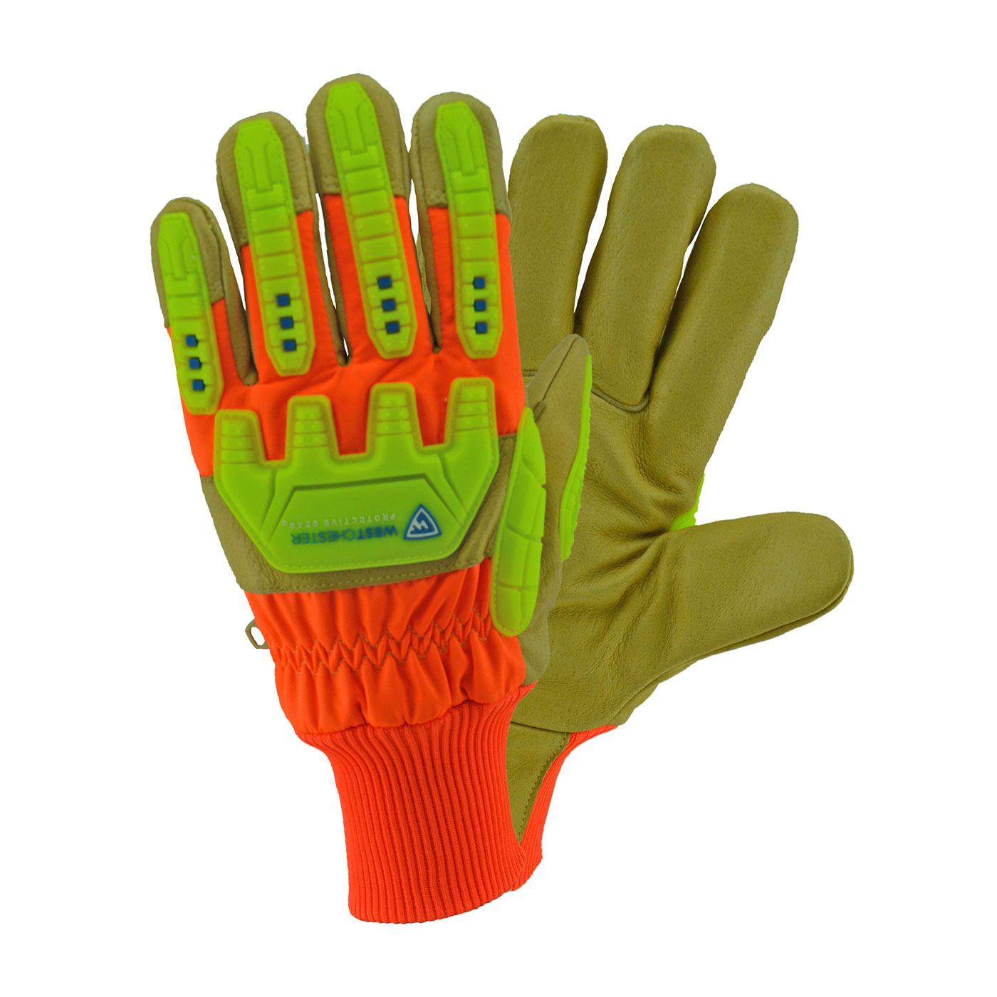 #HVO2555 PIP® West Chester Top Grain Pigskin Leather Palm Glove with Hi-Vis Nylon Back,  Posi-Therm® Liner and Knitwrist