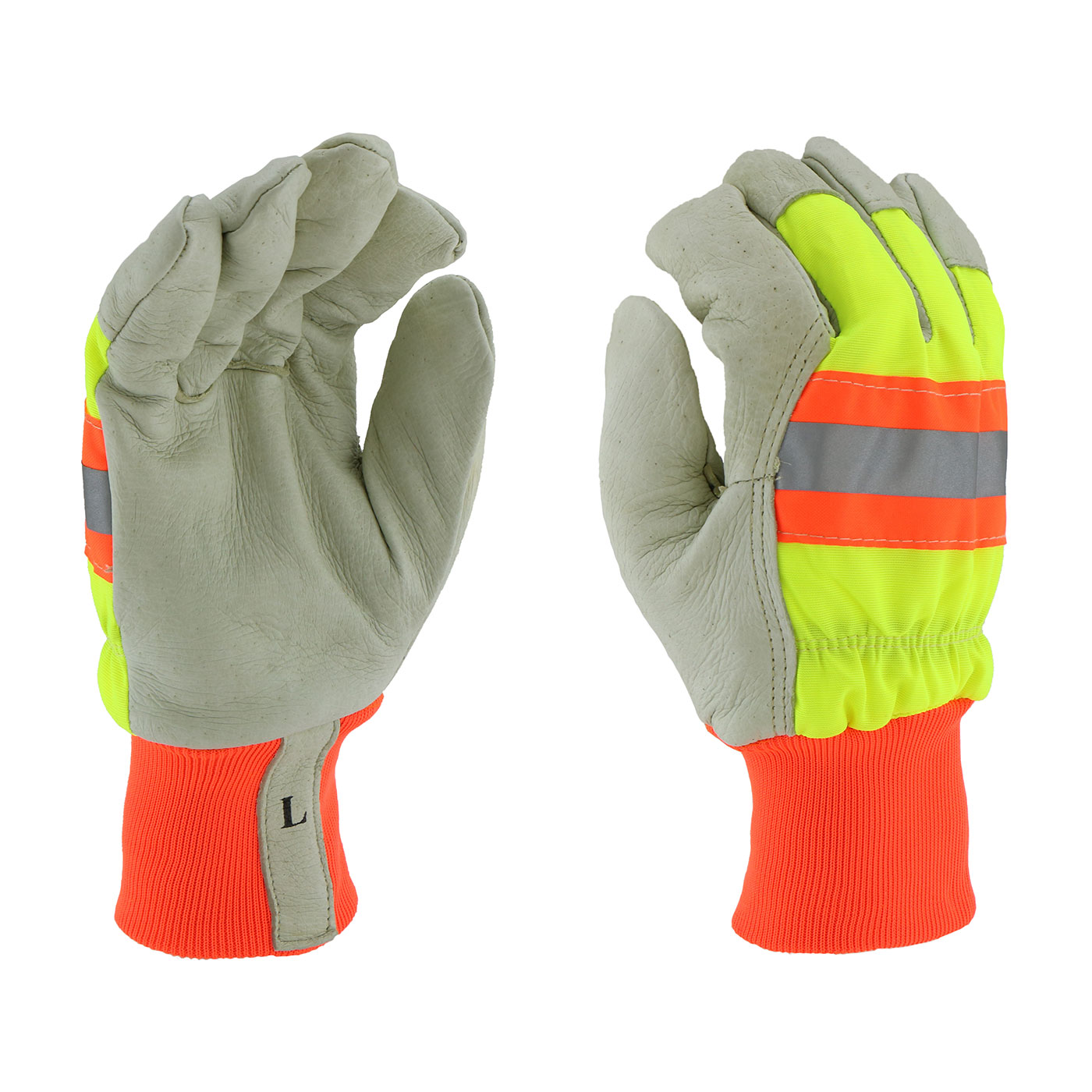 #HVY1555 PIP® West Chester Top Grain Pigskin Leather Palm Glove with Hi-Vis Nylon Back, Retro-Reflective Stripe, Posi-Therm® Liner and Knit Wrists