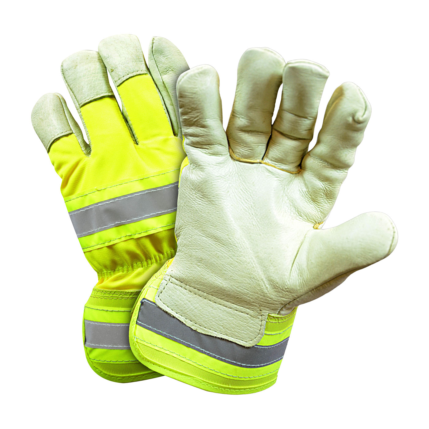 #HVY5555 PIP® West Chester Posi-Therm Top Grain Pigskin Leather Palm Glove with Rubberized Safety Cuffs, Hi-Vis Nylon Backs and Retro Reflective Stripes