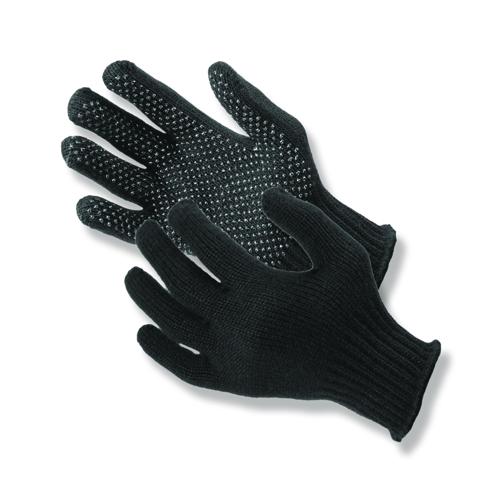 Made in USA. Gripper Dot™ black seamless knit 100% acrylic gloves