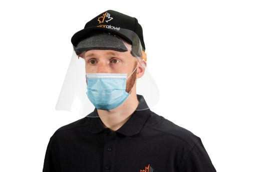 #FSHBC Superior General Purpose Disposable Face Shield w/ Polyurethane Foam Band Fits Over Ball Caps