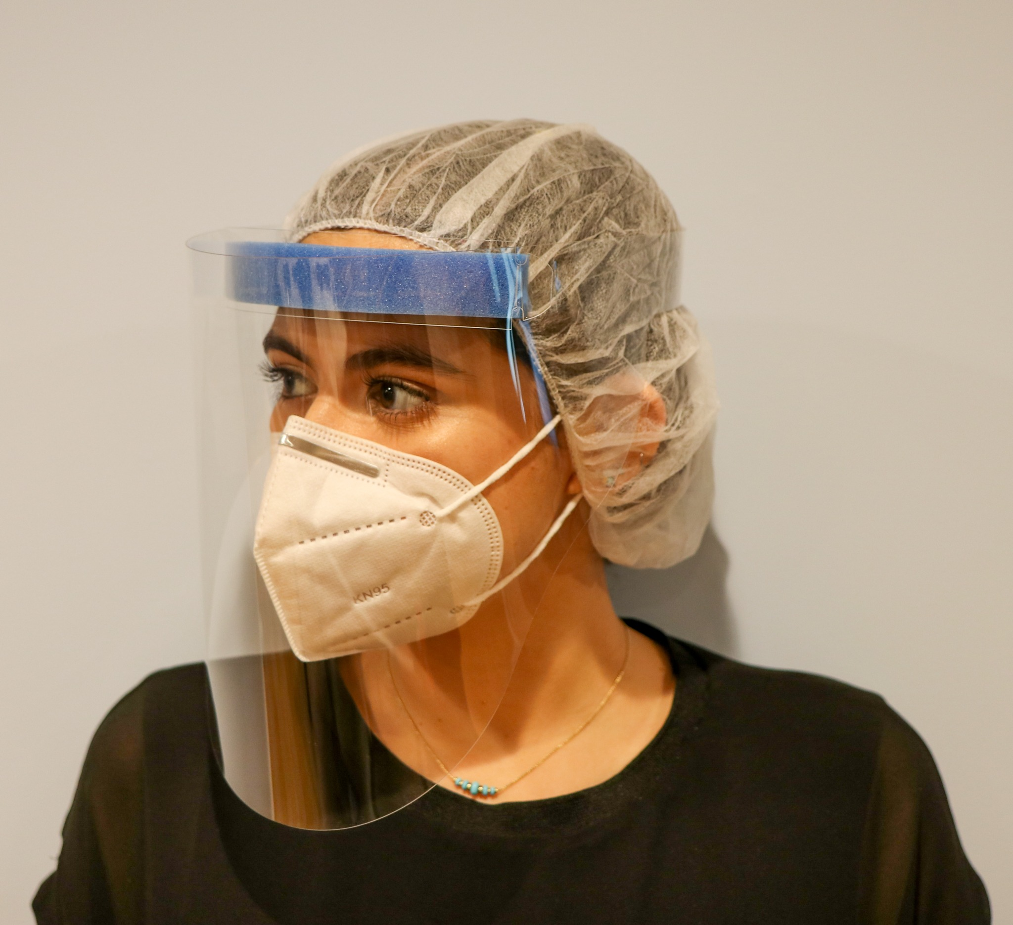 Single-use Adjustable Anti-Fog Full Face Shields with Foam Head Band