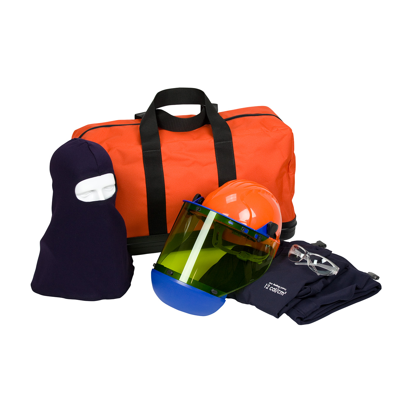 9150-52804 PIP® PPE 2 Arc Flash Kit - 12 Cal/cm2 Contains jacket, overall, hard hat with arc shield, balaclava, safety glasses and carry bag