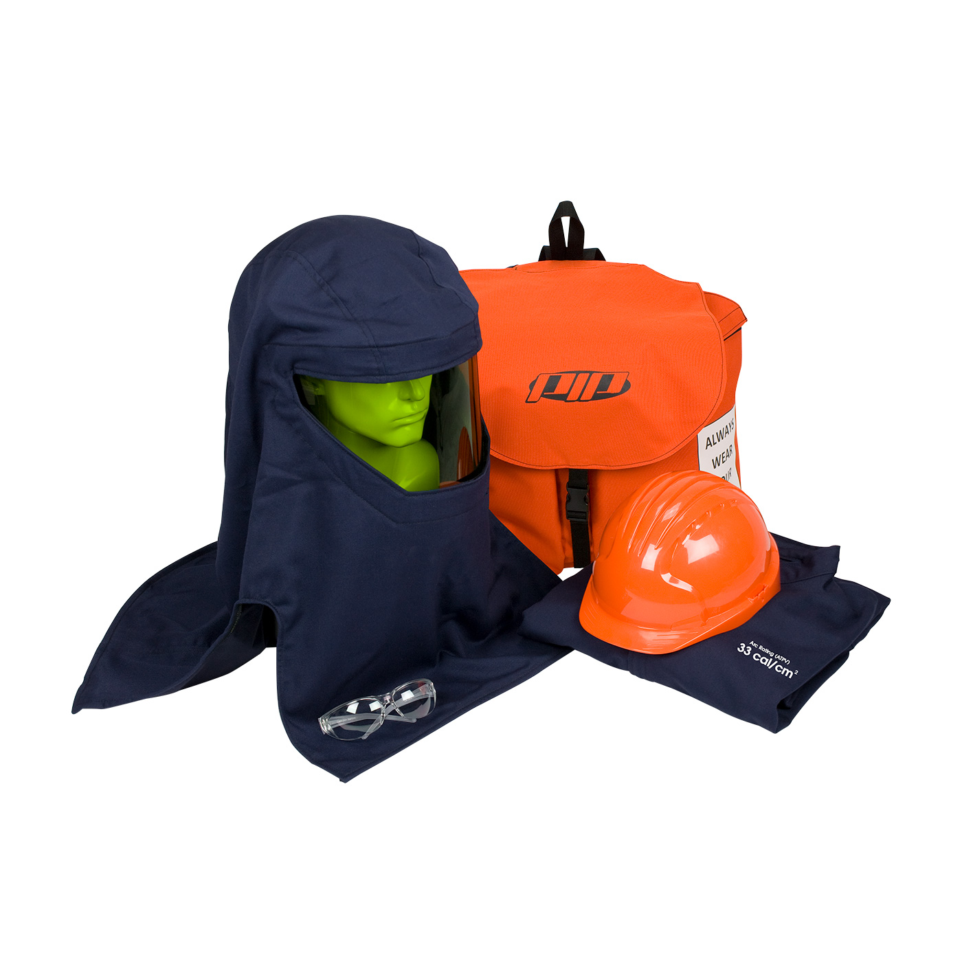 #9150-52946 PIP® PPE 3 Arc Flash Kit - 33 Cal/cm2 contains coverall, balaclava, arc hood, safety glasses, hard hat, and back pack