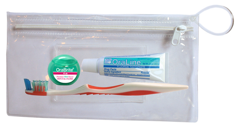 #000-48082 Plaque Removal Kits includes the 34 tuft Adult Compact Stimulator Toothbrush with opposing angle bristles and extended power tip, a OraLine .85 Oz. ADA Accepted Fluoride Mint Toothpaste, a 4 meter PTFE Mint Waxed Floss packed in an attractive clear vinyl dental bag