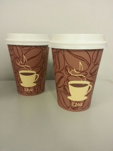 Poly-Lined Coffee Bean Hot Paper Cups w/ Printed Design