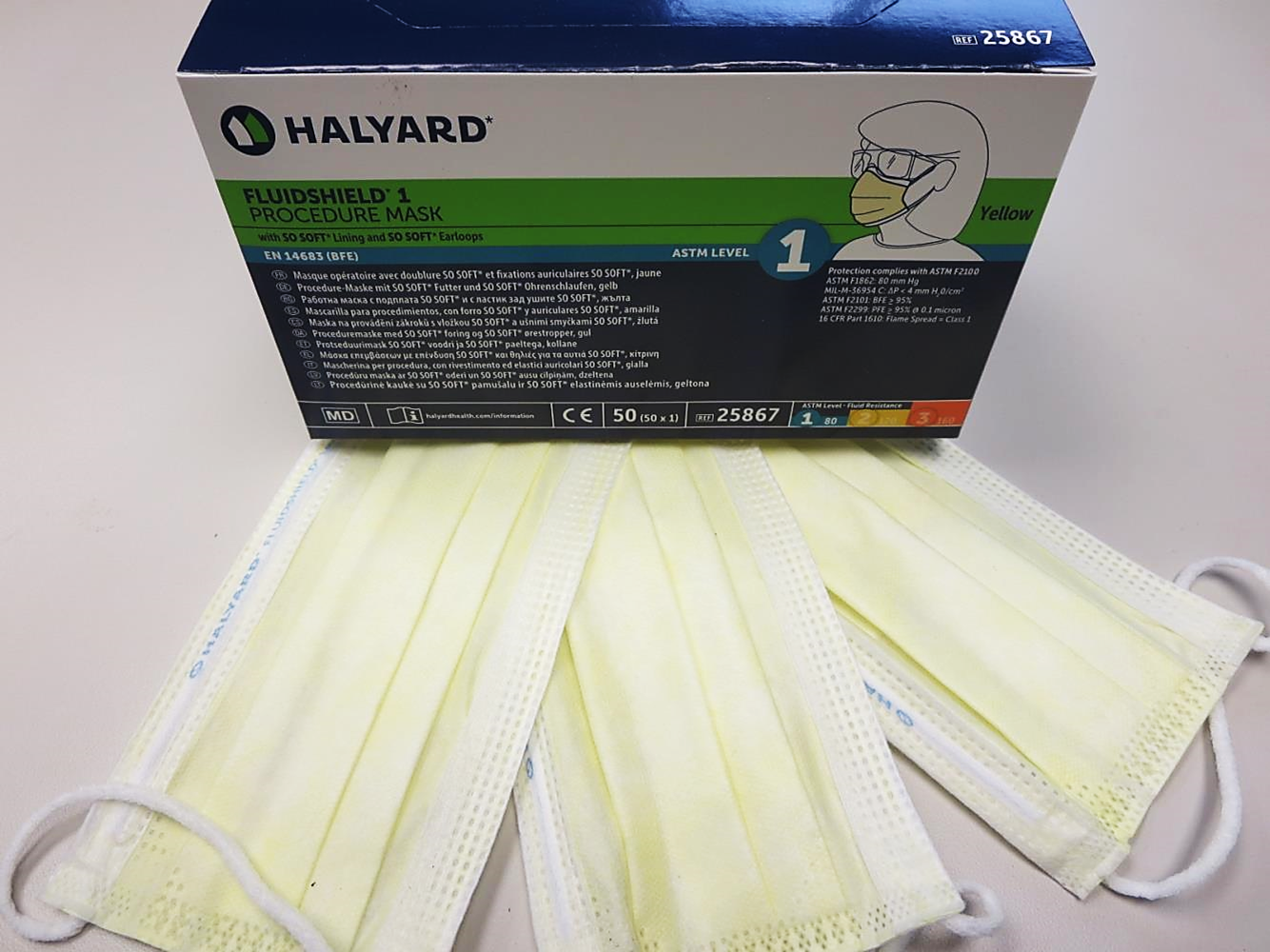 25867 Halyard® Fluidshield® ASTM Level 1  Pleated Procedure Yellow Ear-Loop Masks w/ So-Soft Technology