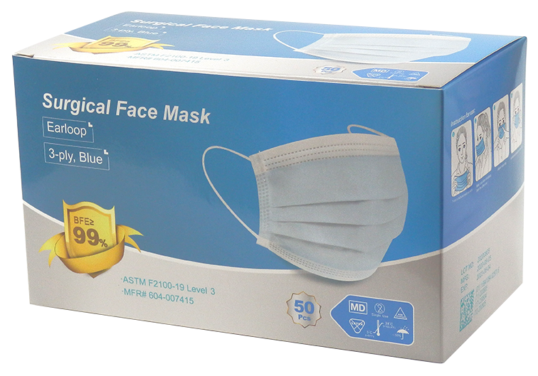 ASTM Level 3 Disposable 3-Ply Pleated Ear-Loop Masks in Blue