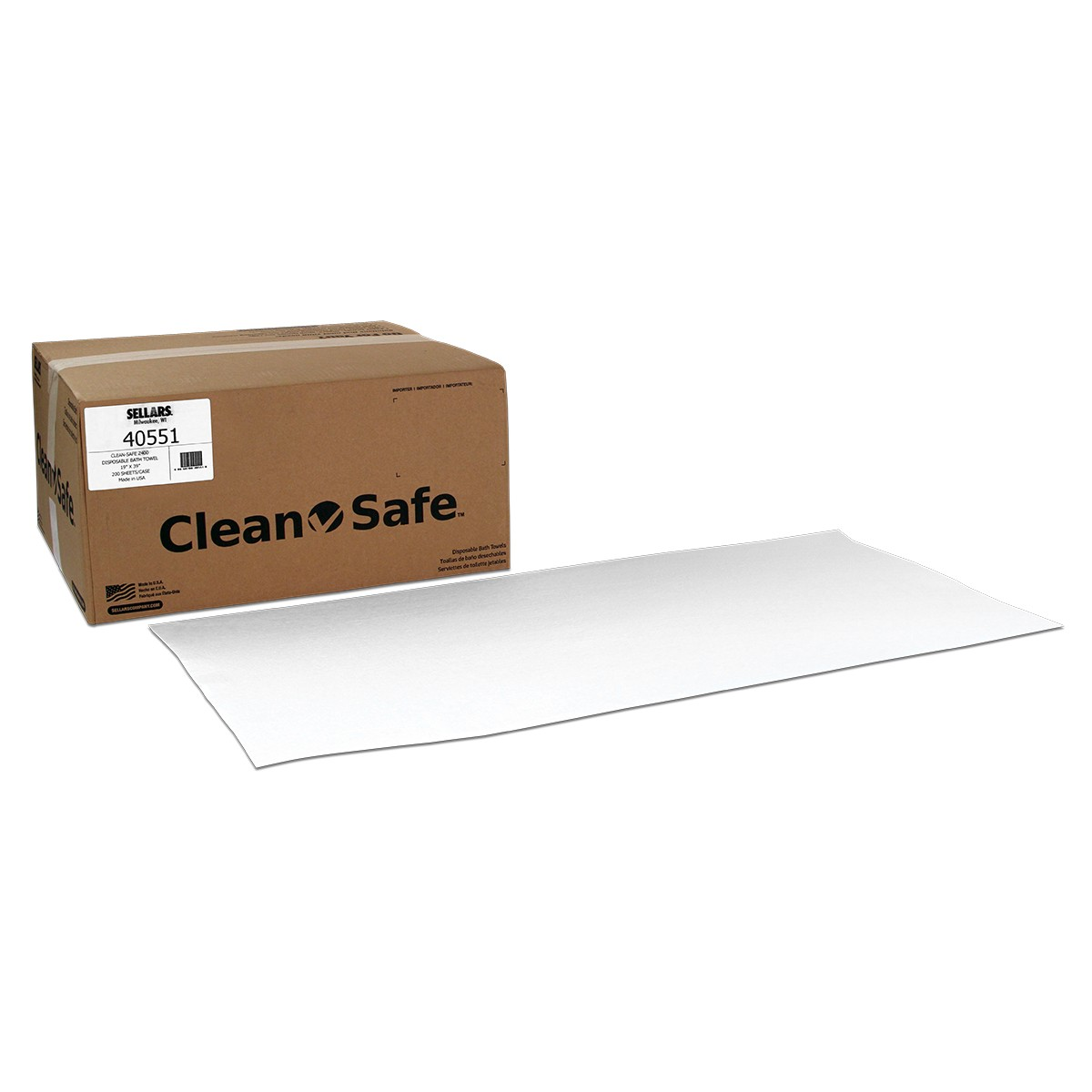 Sellars® Clean-Safe™ Z400 19` x 39` Disposable Bath Towels