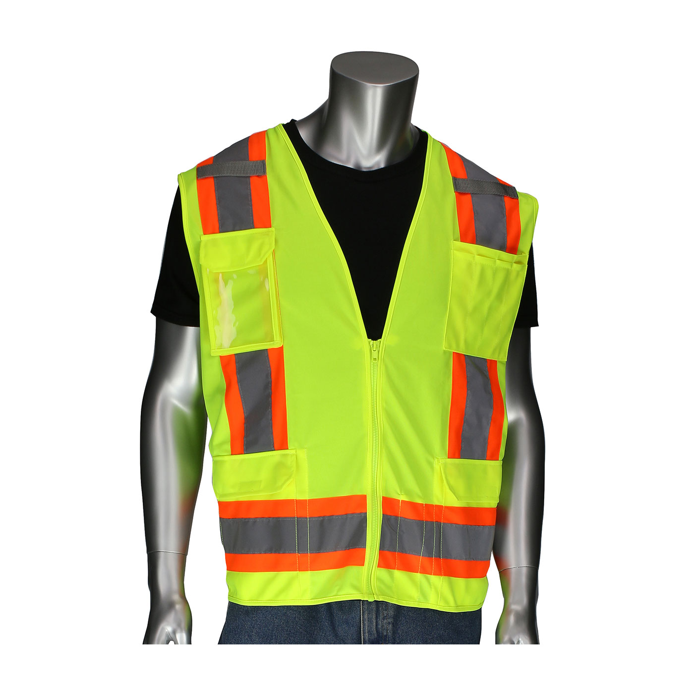 302-0500D PIP® ANSI Type R Class 2 Two-Tone Eleven Pocket Surveyors Vest with Solid Front, Mesh Back and `D` Ring Access -  Yellow