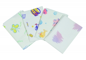 982413 Tidi® Choice® 2-Ply/Poly Back Pediatric Dental Patient Bibs - Water Colors 13` X 18`