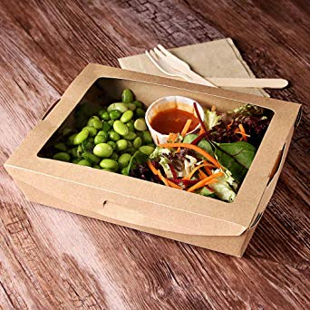 #01VWPASTA Vegware™ 22-ounce Compostable Kraft Window Food Boxes