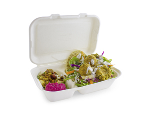 B002 Vegware Compostable Bagasse 2 Compartment Clamshell Boxes (9-inch x 6-inch)