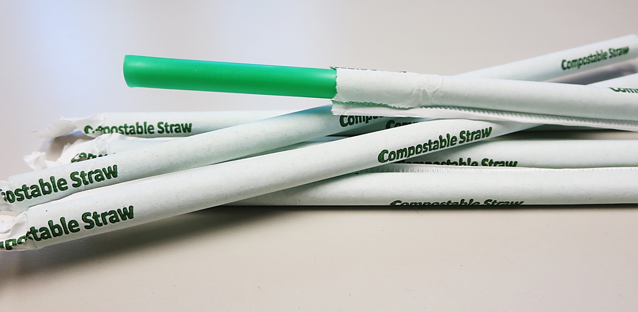 #CGTGW43000GR Cell-O-Core Cello-Green Compostable PLA Bio-polymer 10.25` Green Wrapped Straws