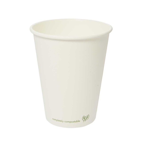 LV-12C Vegware™ Compostable 89-Series 12-ounce Classic Eco White Single Wall Hot Cups