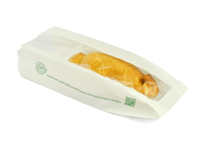 VGLW4 Vegware™ Compostable Glassine Window Bags (4-inch x 2-inch x 10-inch)