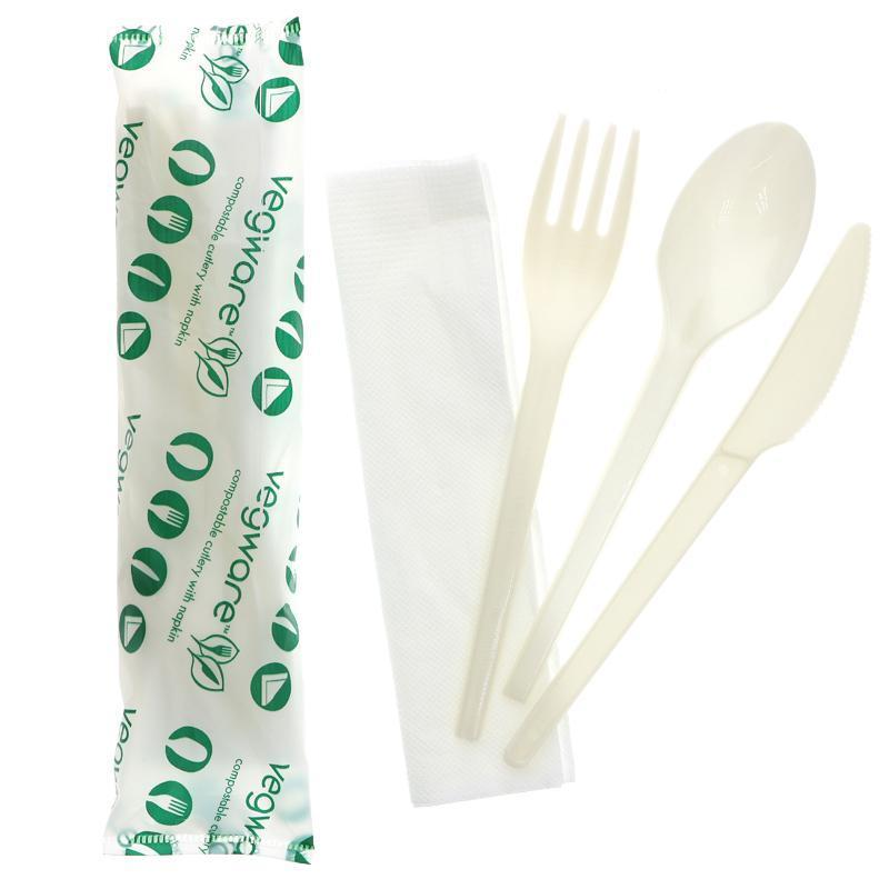 VW-KFSWN Vegware™ compostable Cutlery Kits include knife, fork, spoon and white napkin