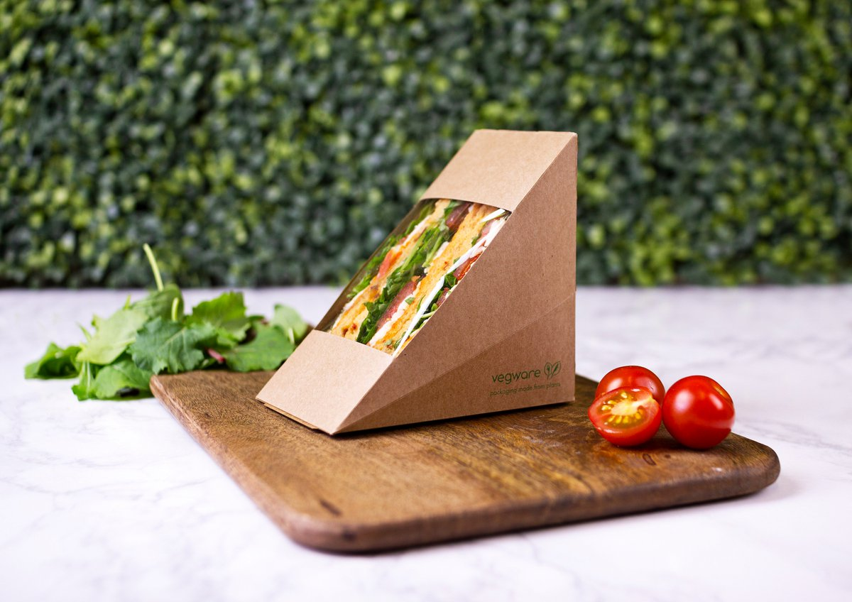 VWST75 Vegware™ Compostable 3-in Kraft Sandwich Wedge Boxes