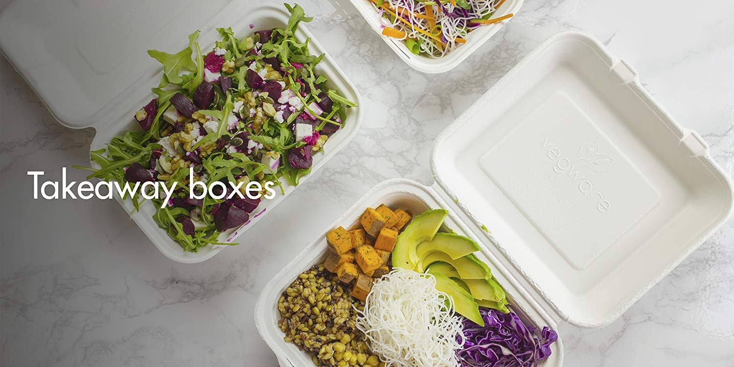 Vegware Compostable Bagasse Clamshell Boxes