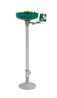 Haws® Pedestal Mounted Eye/Face Wash With AXION MSR™ Eye/Face Wash Head Assembly And Green ABS Plastic Receptor