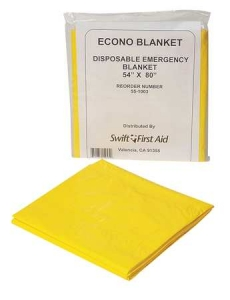 Swift First Aid 54` X 80` Yellow Disposable Emergency Blanket