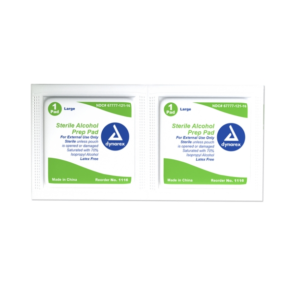 Dynarex #1116 Sterile Large Isopropyl Alcohol Prep Pads